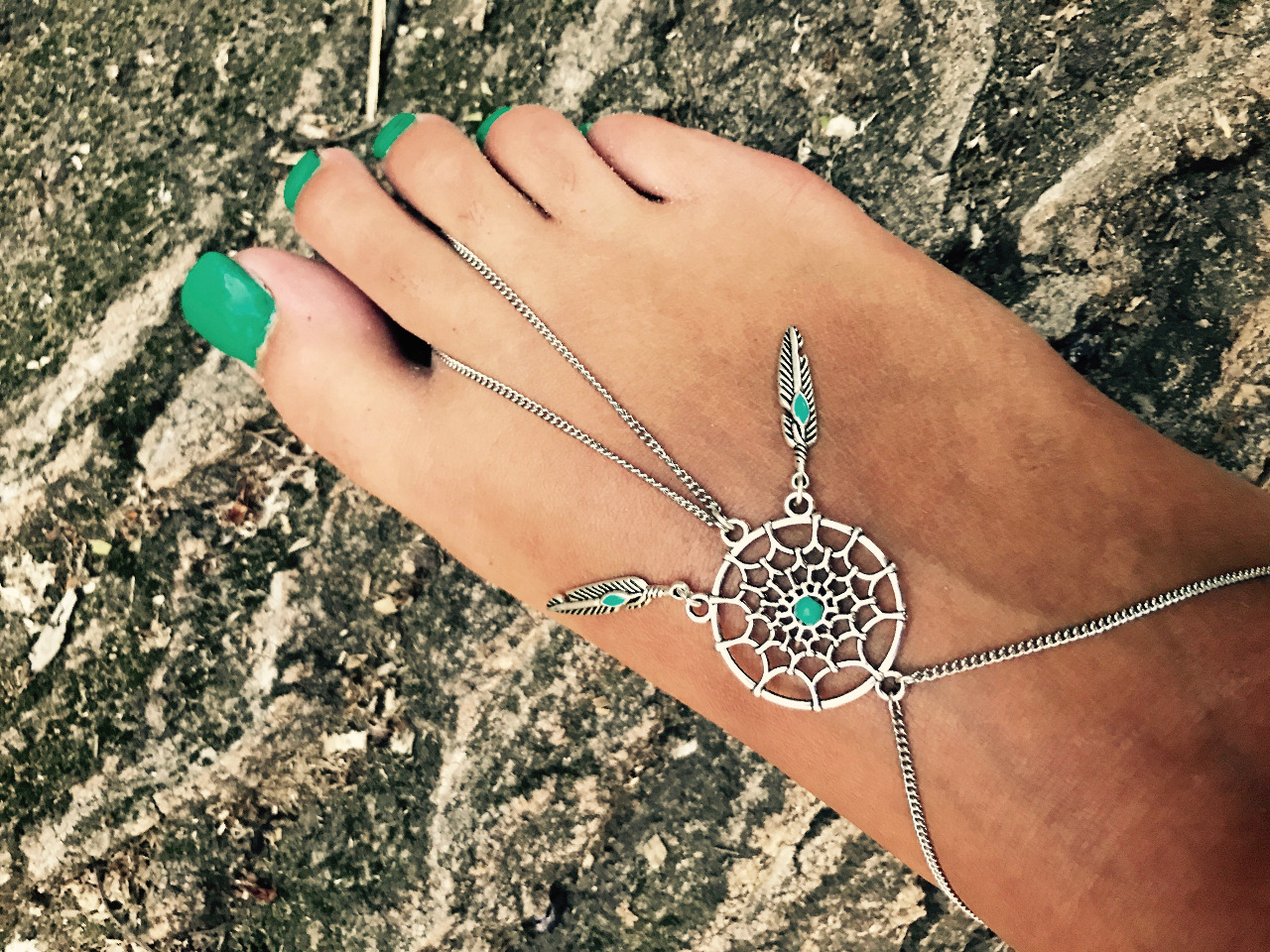 Bijou de pied en acier inoxydable et attrape-rêve-Foot jewel with dream catcher